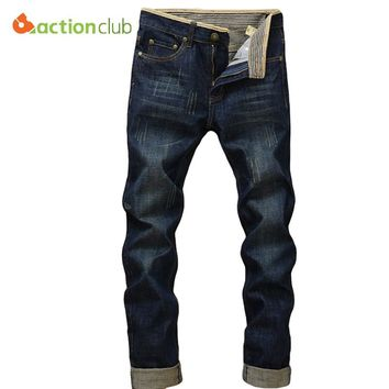 ACTIONCLUB Men Softener Deep Blue Jeans Homme Slim Elastic Factory Jeans Skinny Jeans Men Brand Mens Designer Jeans Pants