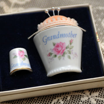 "Napco Porcelain Pin Cushion and Thimble 1950s ""Grandmother"" Vintage Sewing Notions Special Gift Original Pins"