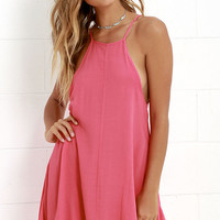 Mink Pink Wonder Why Coral Pink Swing Dress