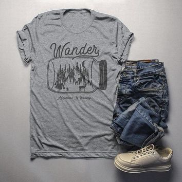 Men's Wander Hipster T-Shirt Mason Jar Adventure Camping Tee Mountains Camp Fire