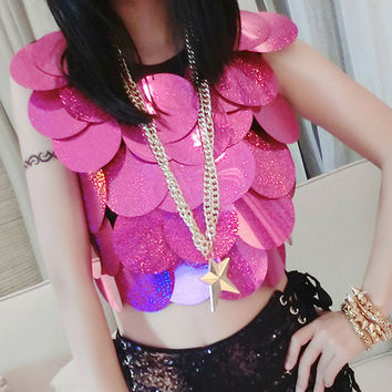 Summer Women Performance Sequins States Sexy Modern Stage Equipment Crop Top T Shirt 2017 Hot High Quality