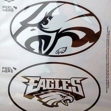 Philadelphia Eagles 2-Pack EURO STYLE Oval Home Auto Decals Sticker Football