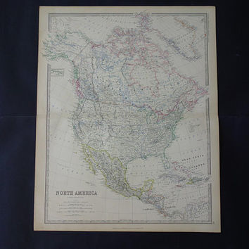 "NORTH AMERICA map LARGE 1878 original antique English print of Usa Canada Mexico North American continent vintage maps poster 19x24"" big"