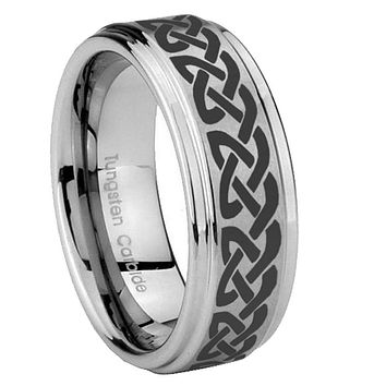 8mm Celtic Knot Love Step Edges Brushed Tungsten Carbide Mens Anniversary Ring