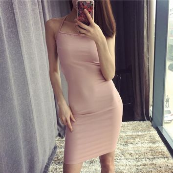 Nude sexy halter strap dress was thin hollow Bottom