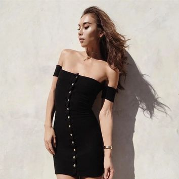 Fashion  Solid Color Off Shoulder Buttons Short Sleeve Tight Mini Dress