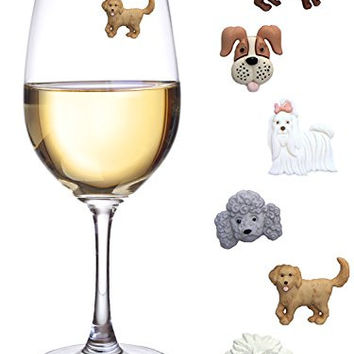Simply Charmed Dog Wine Charms or Glass Markers - Magnetic - Great Birthday or Hostess Gift for Dog Lovers - Set of 6 Cute Puppy Glass Identifiers