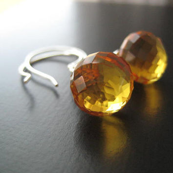 AAA Citrine Briolette Earrings by JulieEllynDesigns