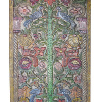 India Carved Door Bodhi-Tree or wisdom-tree Meditation Yoga Buddha Colorful Peacock Carved Farm House Conscious Decor