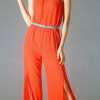 SEXY TANGERINE CHIFFON HALTER JUMPSUIT W/TURQUOISE BELT BY JEALOUS TOMATO $119