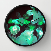 Green Moon Jellyfish - Wall Clock, Ocean Nautical Clock, Beach Surf Bohemian Decor Round Circular Hanging Clock. In Black / White / Natural