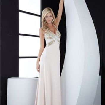 v-neck Column crossing back white Long with Sequins Prom Dress PD0834