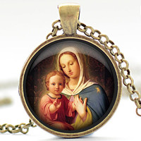 Mother Mary and Baby Jesus Necklace, Your Choice of Finish (1273)