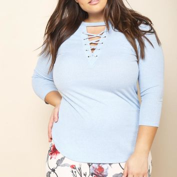 Plus Size Ribbed Lace Up Peekaboo Top Tops+ GS-LOVE