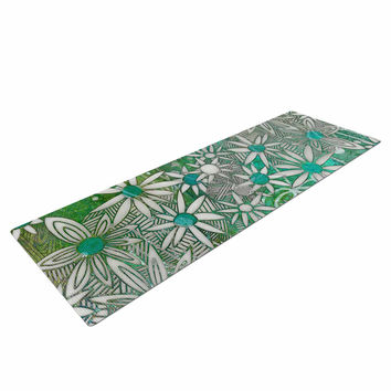 "Marianna Tankelevich ""Spring Daisies"" Green White Yoga Mat"
