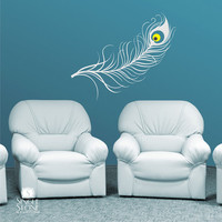 Peacock Feather Wall Decal - Vinyl Art Stickers