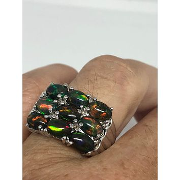 Vintage Handmade Green Genuine Fire Opal 925 Sterling Silver gothic Ring