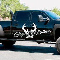 Size Matters Rack Deer Hunting Hunter Truck Car vinyl graphics SUV will fit any car tr023