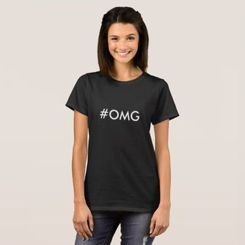 Hashtag, #OMG, Black T-shirt