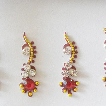 6 Pack-24 Long red stone curved bindi,Golden bindi,Bellydancing party bindi,Indian wedding jewelry,Tribal fusion,Stick on body jewels,Bindis