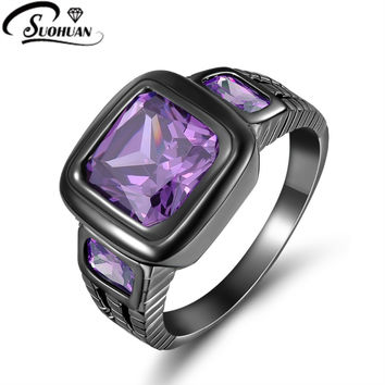 Purple 11 Fashion male purple sapphire black gold Jewelry free shipping Amethyst finger Ring 10 KT Black Rhodium Plated Rings for mens