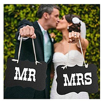 DIY Black Mr Mrs Paper Board+Ribbon Sign Photo Booth Props Wedding decoration Party Favor