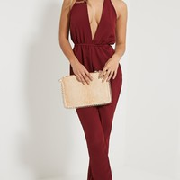 Jeena Burgundy Cut Out Detail Jumpsuit - Jumpsuits & Playsuits - PrettylittleThing | PrettyLittleThing.com