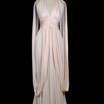 Halston grecian goddess draped jersey maxi dress, vintage 1970s 70s synthetic knit, couture evening or wedding gown, caped, avant garde