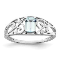 Sterling Silver Genuine Aquamarine Filigree Ring
