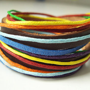 Multicolor Leather Bracelet in Brown Leather