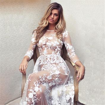 2017 Hirigin Women Sexy Lace Dresses Women Boho Summer Evening Party Beach Dresses Hollow out Sexy  Floral Long Maxi Dresses