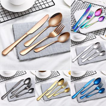 4PCS Set Stainless Steel Upscale Dinnerware Flatware Cutlery Fork Spoon Teaspoon