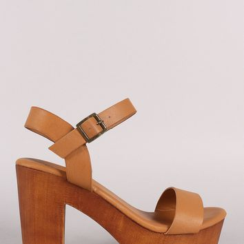 Bamboo Ankle Strap Faux Wooden Chunky Platform Heel