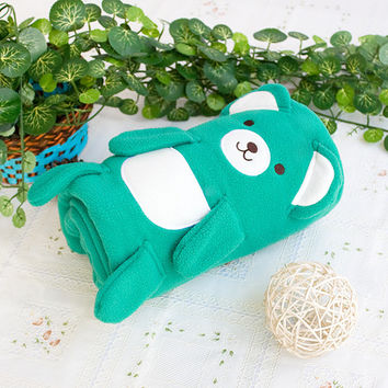 [Happy Bear - Green] Embroidered Applique Coral Fleece Baby Throw Blanket