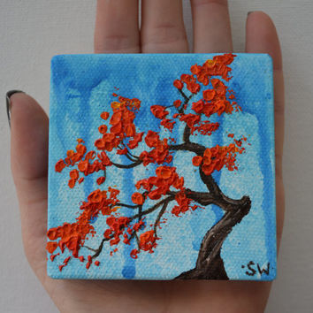 Tiny art, Miniature, Red Bonsai Tree Original Oil Painting, Dollhouse Art, American Girl Doll, 3""