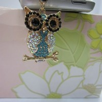Owl Rhinestone Dust Plug / Earphone Jack Accessory / Ear Cap / Ear Jack for Iphone / Ipad / Ipod To