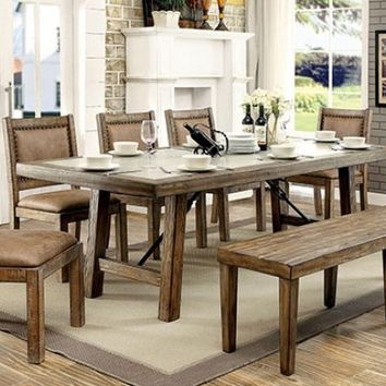 Furniture of america CM3562T-78-3829RA-SC-6PC 6 pc Lynnette collection rustic style rustic oak finish wood dining table set concrete top
