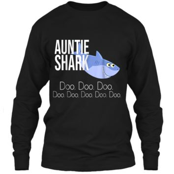 """Auntie Shark"" Baby Mommy Daddy Matching Family Shark  LS Ultra Cotton Tshirt"