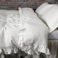 Ruffled Pure Washed Linen Duvet Cover