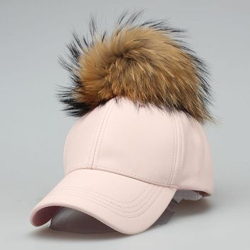 2017 PU Fashion Real Raccoon Fur Ball Pompom pom Leather Baseball Cap Autumn Winter Hats Female For Women Men Dad Snapback Hat