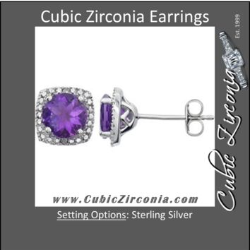 Cubic Zirconia Earrings- Sterling Silver Created Customizable Center Stone