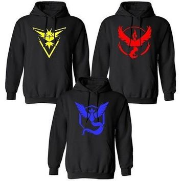 2016  POKEMON GO Team Valor Team Instinct Team Mystic Logo Pullover Hooded Sweatshirt [8833957708]