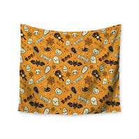 "Kess Original ""All Cute Halloween"" Orange Illustration Wall Tapestry"