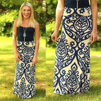 Untoile Forever Maxi Skirt in Navy