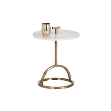 LIBERO BRUSHED BRASS WHITE MARBLE TOP END TABLE
