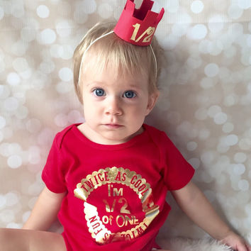 Half Birthday Shirt - Six Month Birthday - 1/2 Birthday Party Set - Prince Birthday - Baby Boy Crown - Royal Birthday - Red and Gold
