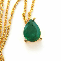 1.44ct pear shape emerald necklace