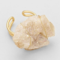 Natural Gold Colored Stone Wire Wrapped Ring