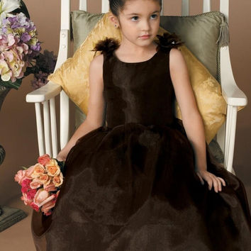 Custom Organza Cheap Flower Girl Dresses Scoop Backless Junior Bridesmaid Dress Girls' Pageant Gowns Free Shipping