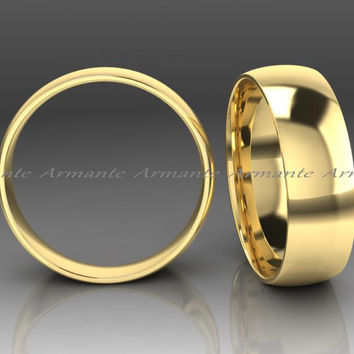 Mens Gold Wedding Band Ring 6.00mm Wide